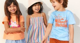 three kids wearing a modern dresses and talking each other