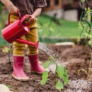 A little girl that is standing in the Garden